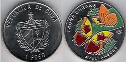 Cuba 1 Peso 2001 Avellanedas Butterfly Fauna Colored UNC - Cuba