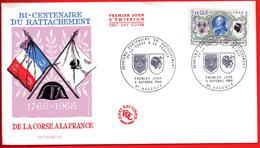 FDC BICENTENAIRE RATTACHEMENT DE LA CORSE 1968