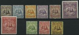 TURKS- UND CAICOS-INSELN 36-45 *, 1900-05, 2 P. - 3 Sh. Und 1/2 P. - 3 P., Falzrest, 10 Prachtwerte, Mi. 186.-