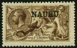 NAURU 12II *, 1916, 2 Sh. 6 P. Dunkelbraun, De La Rue-Druck (SG Nr. 19), Gummireste, Pracht, SG 600 £
