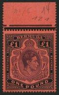 BERMUDA-INSELN 116a **, 1938, 1 £ Schwarz/purpur Auf Rot, Gezähnt 14 (SG 121), Postfrisch, Pracht
