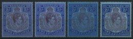 BERMUDA-INSELN 111a-c *, 1938-43, 2 Sh., Gezähnt 14, 4 Verschiedene Werte, Falzrest, Pracht