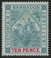 BARBADOS 60x *, 1897, 10 P. 60 Jahre Regentschaft, Weißes Papier, Falzreste, Herstellungsbedingte Gummiknitter, Pr