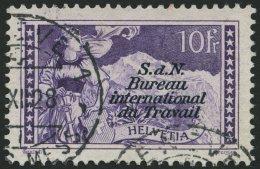 BIT/ILO 14 O, 1923, 10 Fr. Schwarzviolett, Pracht, Mi. 200.-