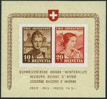 SCHWEIZ BUNDESPOST Bl. 6 **, 1941, Block Kriegs-Winterhilfe, Pracht, Mi. 140.-