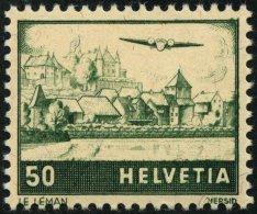 SCHWEIZ BUNDESPOST 389I **, 1941, 50 C. Flugzeug über Landschaften Mit Abart Dach Des Rechten Hauses Weiß, Pr