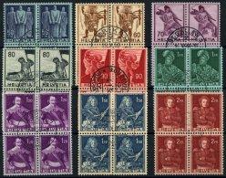 SCHWEIZ BUNDESPOST 377-85 VB O, 1941, Historische Darstellungen In Zentrisch Gestempelten Viererblocks, Prachtsatz