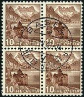 SCHWEIZ BUNDESPOST 363z VB O, 1940, 10 C. Dunkelrötlichbraun, Geriffelter Gummi, Im Zentrisch Gestempelten Viererbl