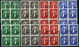 SCHWEIZ BUNDESPOST 344-55 VB O, 1939, Landesausstellung In Viererblocks Mit Zentrischen Sonderstempeln, Prachtsatz (12 W