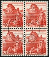 SCHWEIZ BUNDESPOST 327DP VB O, 1938, 20 C. Dunkelrosa, Doppelprägung Des Gesamten Markenbildes, Im Zentrisch Gestem