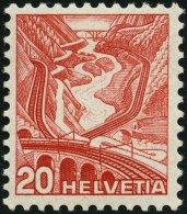 SCHWEIZ BUNDESPOST 301yI **, 1936, 20 C. Rot, Type I, Glatter Gummi, Pracht, Mi. 250.-