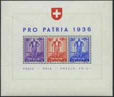 SCHWEIZ BUNDESPOST Bl. 2 **, 1936, Block Pro Patria, Winziger Eckbug Sonst Pracht, Mi. 75,-