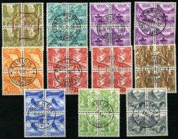 SCHWEIZ BUNDESPOST 297-305I,IIz VB O, 1936, Landschaften, Geriffelter Gummi, In Zentrisch Gestempelten Viererblocks, 10