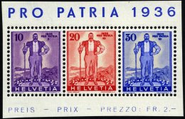 SCHWEIZ BUNDESPOST A294-96 **, 1936, Pro Patria, Prachtstreifen, Mi. 52.-