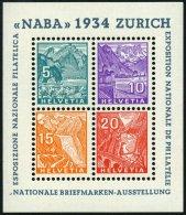 SCHWEIZ BUNDESPOST Bl. 1 **, 1934, Block NABA, Pracht, Mi. 800.-