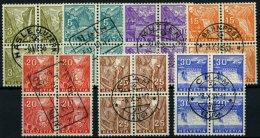 SCHWEIZ BUNDESPOST 270-76 VB O, 1934, Landschaften In Zentrisch Gestempelten Viererblocks, Prachtsatz