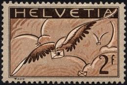 SCHWEIZ BUNDESPOST 245x *, 1930, 2 Fr. Brieftaube, Gewöhnliches Papier, Falzreste, üblich Gezähnt Pracht