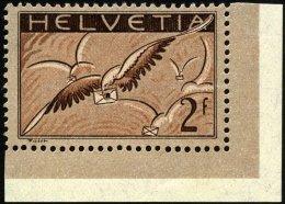 SCHWEIZ BUNDESPOST 245x *, 1930, 2 Fr. Brieftaube, Gewöhnliches Papier, Bogenecke, Falzreste, Pracht