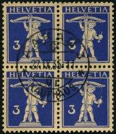 SCHWEIZ BUNDESPOST 199z VB O, 1933, 3 C. Lilaultramarin Auf Mattgelblichorange, Geriffelter Gummi, Im Zentrisch Gestempe
