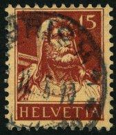SCHWEIZ BUNDESPOST 205z O, 1933, 15 C. Braunkarmin Auf Hellchromgelb, Geriffelter Gummi, Kleine Knitter Sonst Pracht, Mi