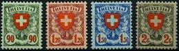 SCHWEIZ BUNDESPOST 194-97z **, 1933/4, Wappen, Geriffelter Gummi, Prachtsatz, Mi. 400.-