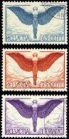 SCHWEIZ BUNDESPOST 189-91x O, 1924, Flugpost, Gewöhnliches Papier, Prachtsatz, Mi. 170.-