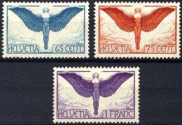 SCHWEIZ BUNDESPOST 189-91x *, 1924, Flugpost, Gewöhnliches Papier, Falzreste, Prachtsatz