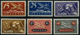SCHWEIZ BUNDESPOST 179-84x **, 1923, Flugpost, Gewöhnliches Papier, 40 C. Kleiner Haftpunkt Sonst Prachtsatz (6 Wer