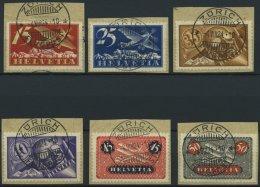 SCHWEIZ BUNDESPOST 179-84x BrfStk, 1923, Flugpost, Gewöhnliches Papier, Auf Briefstücken, Prachtsatz, Mi. 180.
