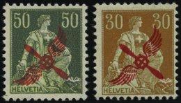 SCHWEIZ BUNDESPOST 145,152 *, 1919/20, 50 Und 30 C. Flugpost, Falzreste, Feinst/Pracht