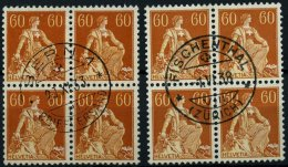 SCHWEIZ BUNDESPOST 140x,y VB O, 1918/40, 60 C. Schwärzlichrötlichorange/mattgelborange, Beide Papiere, 2 Zentr