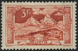 SCHWEIZ BUNDESPOST 142 *, 1918, 3 Fr. Bräunlichkarmin, Falzreste, Feinst, Mi. 120.-