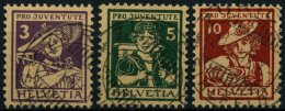 SCHWEIZ BUNDESPOST 130-32 O, 1916, Pro Juventute, Prachtsatz, Mi. 150.-