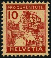 SCHWEIZ BUNDESPOST 129 *, 1915, 10 C. Pro Juventute, Falzrest, Pracht, Mi. 110.-