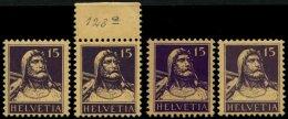 SCHWEIZ BUNDESPOST 120 **, 1914, 15 C. Tellbrustbild, Postfrisch, In 4 Verschiedene Farben, Pracht