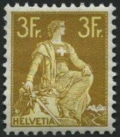 SCHWEIZ BUNDESPOST 110 *, 1908, 3 Fr. Schwärzlichgraugelb/mattgelb, Falzreste, Gummi Etwas Wellig, Pracht, Mi. 320.