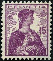 SCHWEIZ BUNDESPOST 116 **, 1909, 15 C. Violettpurpur, Postfrisch, Pracht, Mi. 90.-