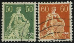 SCHWEIZ BUNDESPOST 107y,140y O, 1940, 50 Und 60 C. Sitzende Helvetia, Gestrichenes Papier, Glatter Gummi, Wellenstempel,