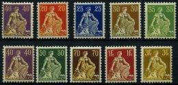 SCHWEIZ BUNDESPOST 101-10x **, 1908, Sitzende Helvetia, Glatter Gummi, Postfrisch, Prachtsatz, Mi. 1300.-