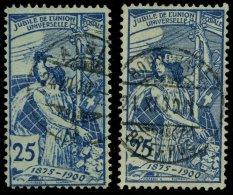 SCHWEIZ BUNDESPOST 73I,II O, 1900, 10 C. UPU, Platte I Und II, 2 Prachtwerte, Mi. 95.-
