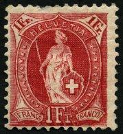 SCHWEIZ BUNDESPOST 70D *, 1899, 1 Fr. Karmin, Gezähnt K 111/2:12, Falzreste, Feinst (dünne Stelle Im Oberrand)