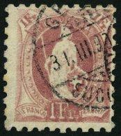 SCHWEIZ BUNDESPOST 63B O, 1882, 1 Fr. Lila, Gezähnt K 9 3/4:91/4, üblich Gezähnt Pracht, Mi. 100.-