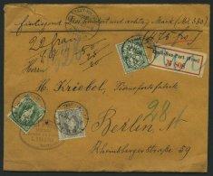 SCHWEIZ BUNDESPOST 61,69C,84 BRIEF, 1900, 40 C., 50 C. Und 5 C. Auf Geldbrief Von Trait-Bon-Port Nach Berlin, Pacht