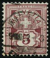 SCHWEIZ BUNDESPOST 46 O, 1882, 5 C. Lilabraun, Pracht, Mi. 120.-