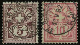 SCHWEIZ BUNDESPOST 46/7 O, 1882, 5 C. Lilabraun Und 10 C. Lebhaftrosarot, 2 Werte üblich Gezähnt Pracht, Mi. 2