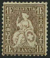 SCHWEIZ BUNDESPOST 28a *, 1863, 1 Fr. Goldbronze, Zähnung Leicht Korrigiert Und Eingesetzter Eckzahn, Mi. 1400.-