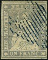 SCHWEIZ BUNDESPOST 18IIAys O, 1855, 1 Fr. Violettgrau, Schwarzer Seidenfaden, Berner Druck II, (Zst. 27C), Mit Blauem Ra