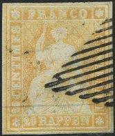 SCHWEIZ BUNDESPOST 16IIAym O, 1854, 20 Rp. Gelborange, Berner Druck I, (Zst. 25Bc), Allseits Breitrandig, Kleine Helle S
