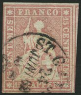 SCHWEIZ BUNDESPOST 15IIBym O, 1857, 15 Rp. Rosa, Grüner Seidenfaden, Berner Druck III, (Zst. 24G), Vollrandig Prach