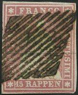 SCHWEIZ BUNDESPOST 15IIByp O, 1857, 15 Rp. Rosa, Blauer Seidenfaden, Berner Druck II, (Zst. 24Da), Allseits Breitrandig,